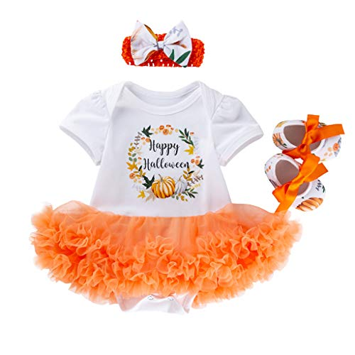 Jack O'Lantern Baby Girl Outfit,Crytech Toddler Newborn Short Sleeve Pumpkin Skull Print Romper Jumpsuit Tutu Tulle Skirt Dress with Bow Headband for Halloween Costume Clothes (6-12 Months, 3 Pcs)