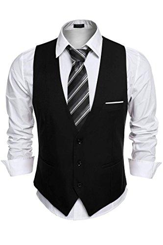 COOFANDY Men's Slim Fit Suit Vest Business Wedding Waistcoat (L, Black)