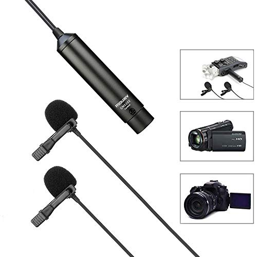 20ft Dual Head XLR Lavalier Microphone, MOURIV Cardioid Phantom Power Lapel Clip on Mic Interview Kit for Canon Sony Panasonic Camcorders Zoom H4n H5 H6 Tascam DR-40 DR-60D DR-70D DR-100 Recorders