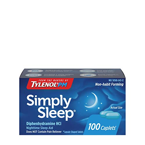 Simply Sleep Nighttime Sleep Aid Caplets with 25 mg of Diphenhydramine HCl, Non-Habit Forming Sleep Aid for Adults, 100 ct (Pack of 2)