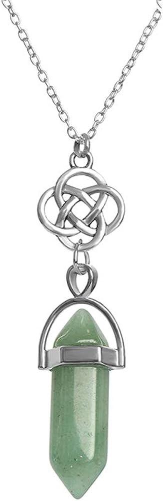 Dragonface Fluorita Collar Colgante de Cuarzo Piedra Natural Bala Hexagonal Punto Péndulo Columna de joyería Collar de Reiki Chakra 1 PC