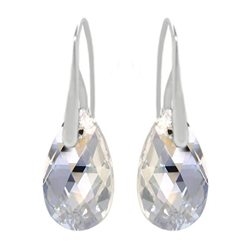 Sterling Silver Moonlight Clear Light Blue Made with Swarovski Crystals Drop Pierced Hook Earrings ()