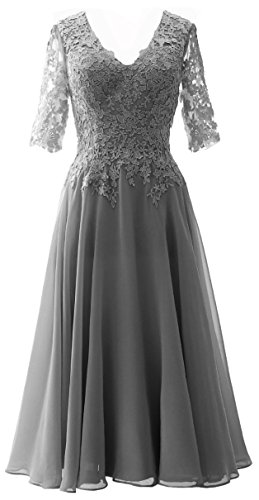 Mother Gown Half Lace MACloth of Women Grau Bride The Evening Formal Dress Sleeves xIw0THOqT