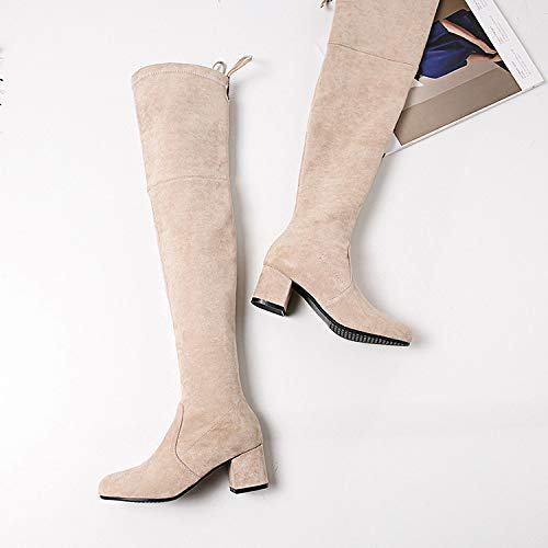 GaoXiao_ Hochhackige Hochhackige Hochhackige Stiefel Knie hoch im Herbst und Winter mit Stiefeln gebunden. 5b6488