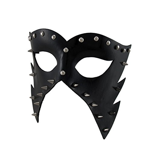 Zeckos Black Vinyl Spiked And Studded Half-Face Masquerade Mask Adult Vinyl Half Mask