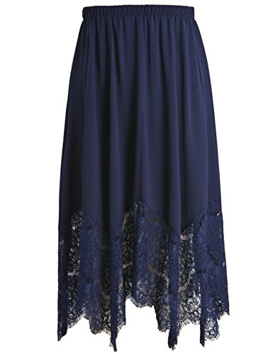 (Chicwe Women's Plus Size Long Flare Lace Trimmed Skirt with Elastic Waistband - Casual and Work Skirt Navy 1X)