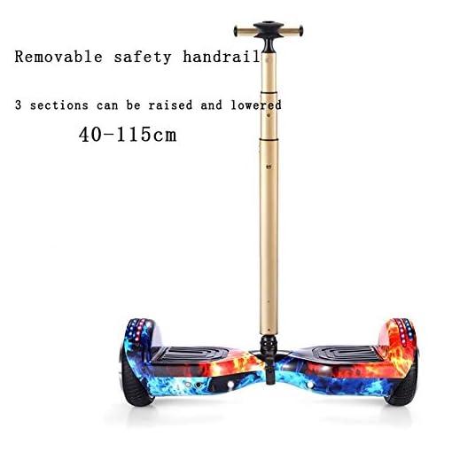 Hoverboard 10 Pouces Auto-Équilibrage Électrique Skateboard avec Main Courante De Sécurité Réglable en Hauteur avec Bluetooth-Musique/LED Flash, pour Enfants Et Adultes,Bleu
