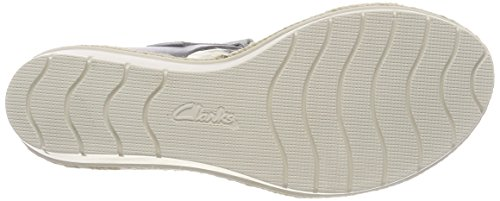 Clarks Palm Shine, Sandalia con Pulsera Para Mujer Gris (Grey Leather)