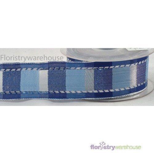 FloristryWarehouse Vienna Check Ribbon 1.5 inches metallic Blue Silver