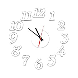uxcell EVA DIY 3D Number Time Wall Clock Removable Art Sticker Decal Home Room Office Decor, Pure White, 3 Styles Combination