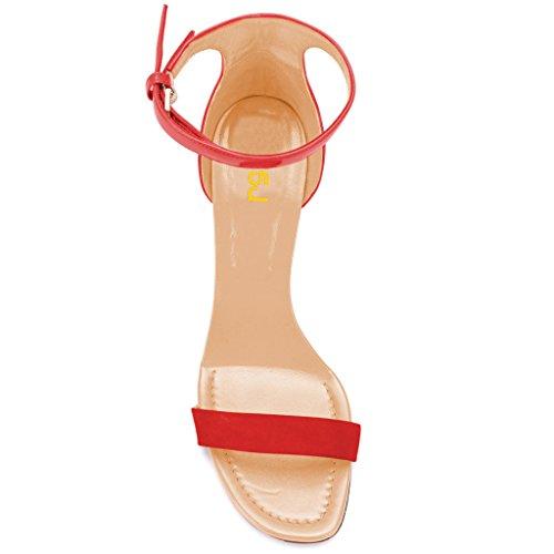 Fsj Donne Classiche Tacchi Alti Sandali Con Cinturino Alla Caviglia Due Pezzi Open Toe Tacchi A Spillo Scarpe Estive Taglia 4-15 Us Rosso