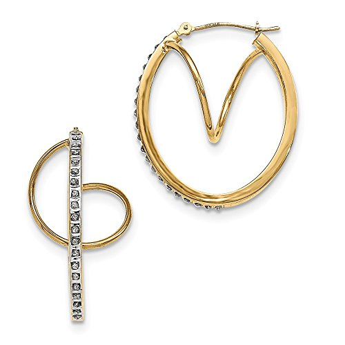 Solid Helix Gold Diamond 14k - 14k Yellow Gold Diamond Fascination Twisted Hinged Hoop Earrings Ear Hoops Set Fine Jewelry Gifts For Women For Her