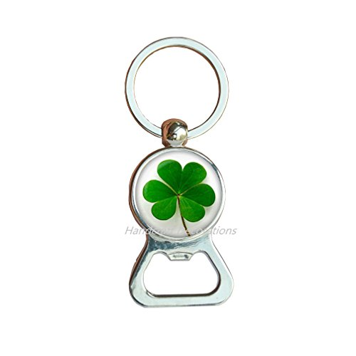 Four Leaf Clover Bottle opener Keychain. Clover jewelry, Lucky jewelry. Birthday gift,good luck present, four leaf clover, good luck.F087