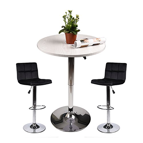 Elecwish Pub Table with Bar Stools Set for Kitchen Home Dining Room (Black Set C) ()