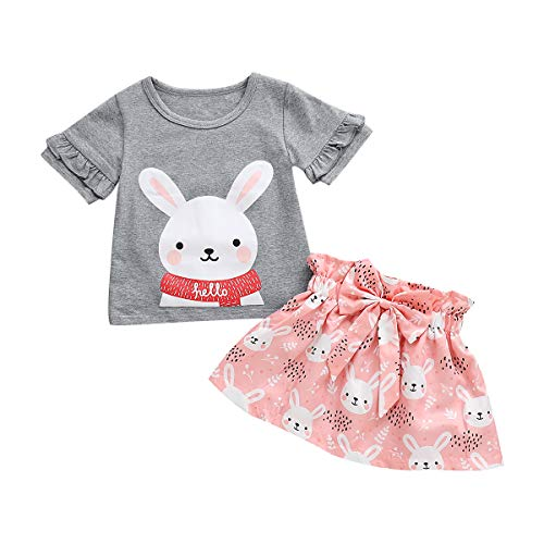 2PCS Easter Clothing Baby Girls Ruffle Sleeves Shirt Tops +Floral Bunny Dress Skirt Set (Gray & Pink, 4-5 T) ()