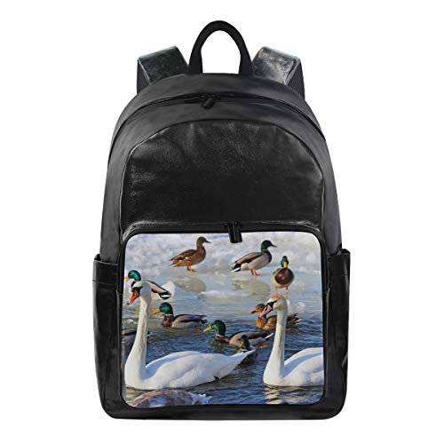 - Swan Simple Backpack School Bags Casual Stylish Outdoor Sports Large Capacity Casual Travel Rucksack Student College Bookbag for Men Women Teenagers Black