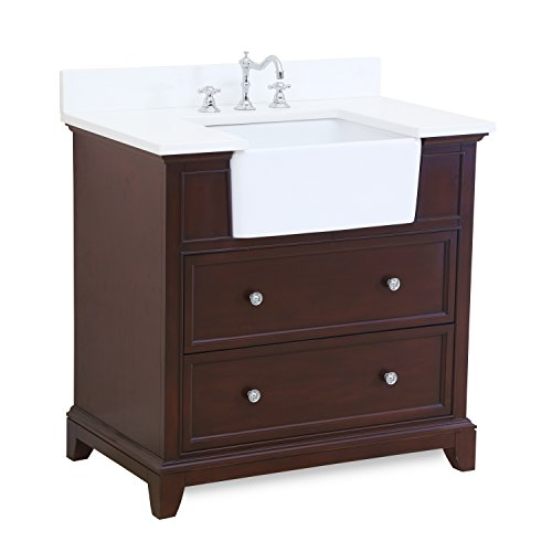 (Sophie 36-inch Bathroom Vanity (Quartz/Chocolate): Includes a White Quartz Countertop, Chocolate Cabinet with Soft Close Drawers, and White Ceramic Farmhouse Apron Sink)