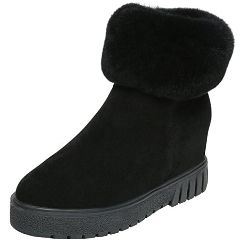 Binying Women's Inner-Increaser Round-Toe Flat Zip Snow Boots Black laK1zqFj3