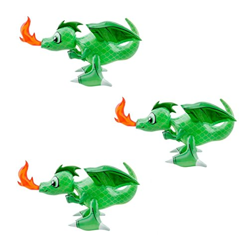 Fire Breathing 30 Inch (GREEN) Dragon Inflatable 3 (Dragon Decorations)