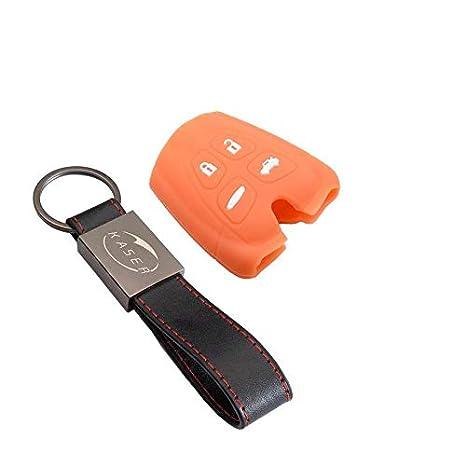 kaser Funda Silicona para SAAB Carcasa Llaveros 4 Botones para Coche 93 95 9.3 9.5 9-3 9-5 Cover Case Protecci/ón Remoto Mando Auto Naranja//Solo Keyless GO