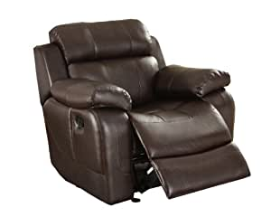 Homelegance 9724BRW-1 Rocker Reclining Chair, Brown Bonded Leather