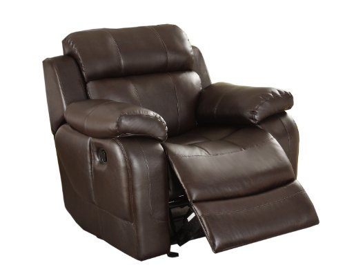 Homelegance 9724BRW-1 Rocker Reclining Chair, Brown Bonded (Brown Leather Motion Home Theater)