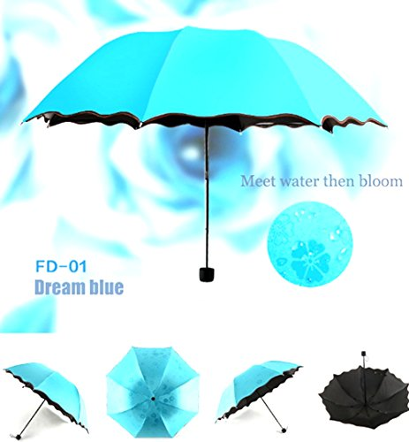 Travel Compact Umbrella For One Handed Operation, Met Water Begin Bloom Umbrella ,Windproof Sunscreen Handle for Easy Carrying For Womens Mens (Dream Blue)