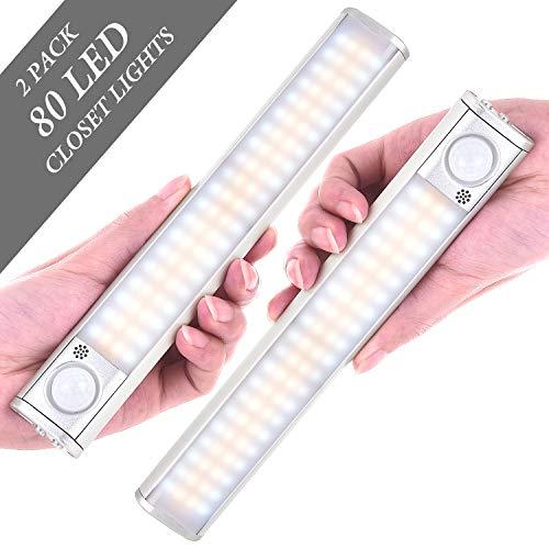 GLPE Closet Lights, 80 LED Closet Lights Motion Sensored, Rechargeable Under Counter Lights for Kitchen 2 Pack