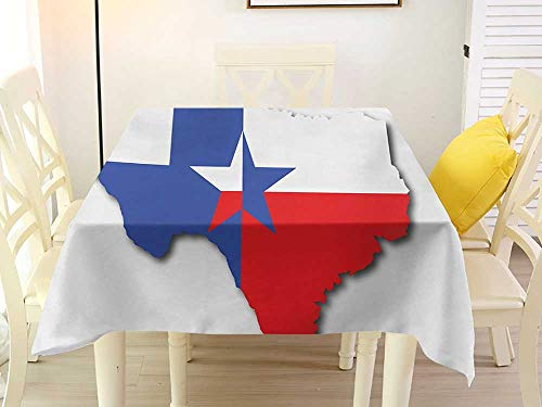 - L'sWOW Square Tablecloth Paper Texas Star Outline of The Texas Map American Southwest Austin Houston City Vermilion White Violet Blue Birthday 36 x 36 Inch