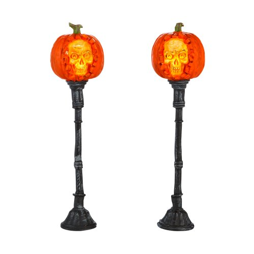 Department 56 Accessories for Villages Halloween Evil Pumpkin Lampposts Lights, 1.77 inch