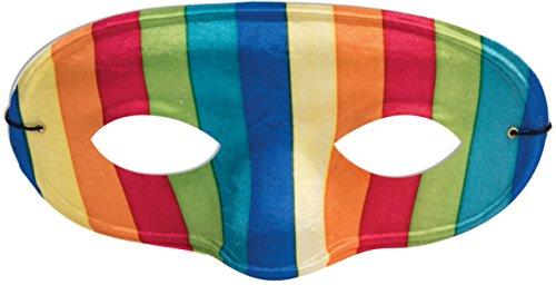 Adult's Funky Pride Colorful 70s Retro Rainbow Domino Mask Costume (Rainbow Mask)