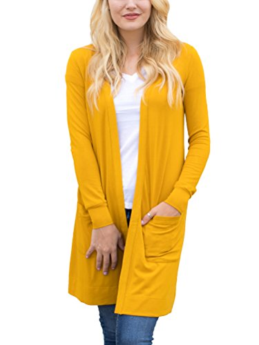 (Tickled Teal Women's Soft Long Sleeve Pocket Cardigan (Mustard,)