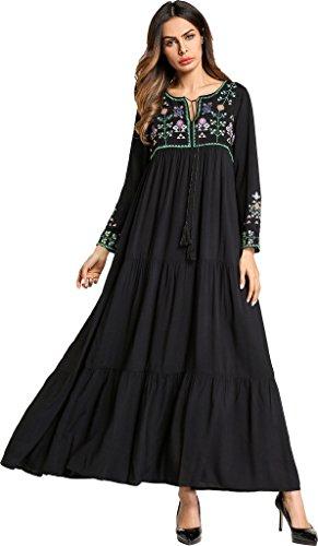 Ababalaya Women's Casual Loose Lace-up Ethnic Embroidered Long Maxi Muslim Abaya Dress,Black,XXL=US Size 12-14 by Ababalaya