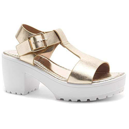 (Herstyle Certain Women's Platform Sandal with Low Heel T-Strap Open Toe Flatform Wedge Ankle Strap Shoes L. Gold 11.0)
