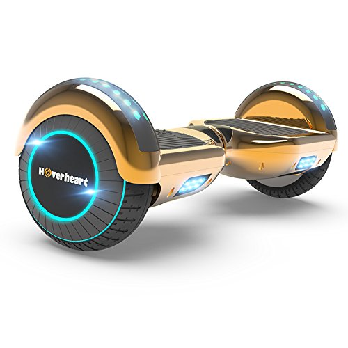 Hoverboard Two-Wheel Self Balancing Electric Scooter UL 2272 Certified, Metallic Chrome with Wireless Speaker and LED Light (Chrome Rosegold)