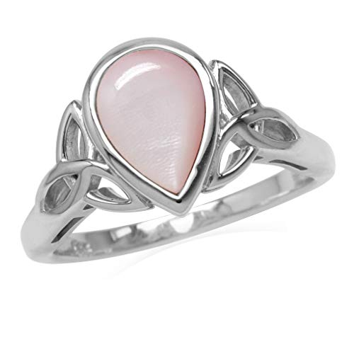 (Silvershake 10X7mm Pear Shape Pink Mother of Pearl 925 Sterling Silver Triquetra Celtic Knot Ring Size 7)