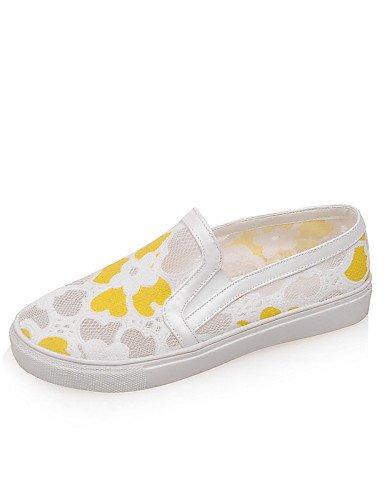 Zq De Eu36 Plano 5 5 White Blanco Cn35 us5 Amarillo Mocasines Tacón Zapatos Uk3 Yellow Gyht Mujer Casual Tejido us6 Redonda Cn36 Uk4 Punta 4Zxr4X
