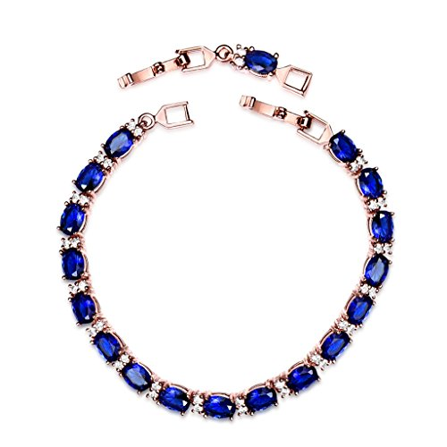 - GULICX Rose Gold Plated Vintage Style Blue Oval Cubic Zirconia Tennis Bracelet for Women