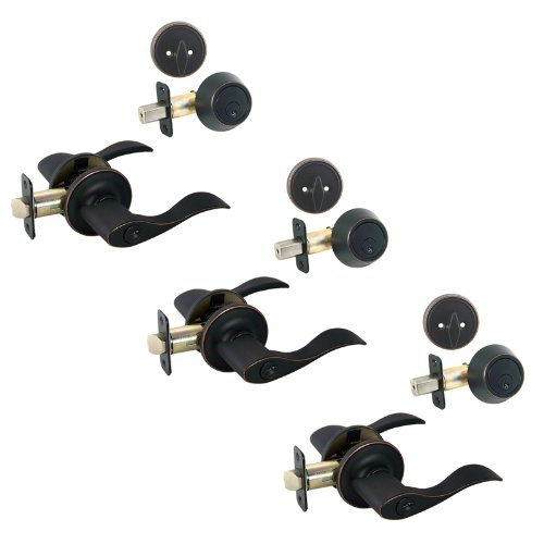 (3 - Kingston Oil Rubbed Bronze Entry Lever with Matching Single Cylinder Deadbolt Combo Packs Keyed Alike (We Key Lock Orders Alike for Free))