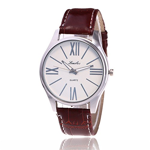 Loweryeah Pu Leather Strap Quartz Watch Simple Large Dial Men's Watch
