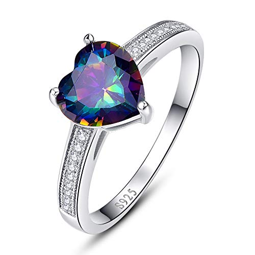 BONLAVIE Heart Promise Rings for Her 925 Sterling Silver Created Rainbow Topaz White Cubic Zirconia CZ Solitaire Engagement Size 6 (Rainbow Topaz Engagement Rings)