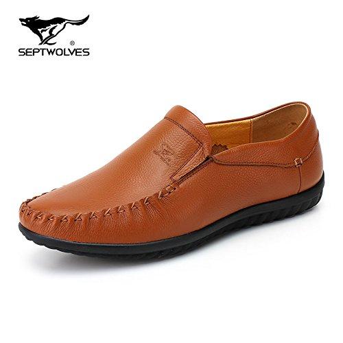 Aemember scarpe uomo pigro persone driving scarpe traspirante scarpe a step One Foot set da uomo casual scarpe di fagioli di soia scarpe uomini e ,39, giallo marrone