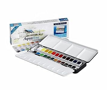 Daler Rowney Watercolour Pocket Set Aquafine NEW 12 half pans