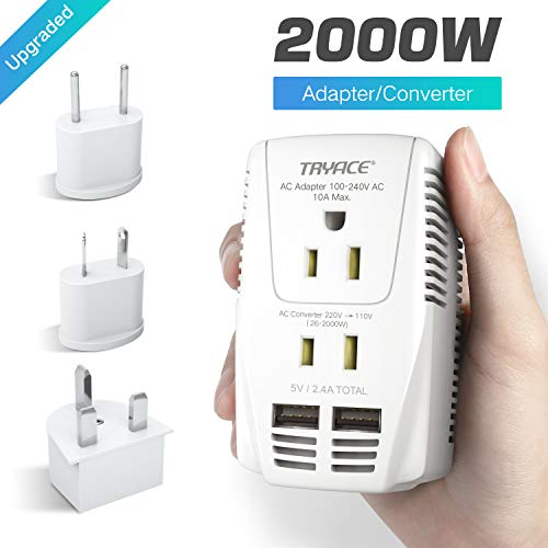 TryAce Upgraded 2000W Voltage Converter with 2 USB Ports,Set Down 220V to 110V Power Converter for Hair Dryer/Straightener/Curling Iron, Travel Transformer for UK/AU/US/EU Plug Travel Adapter