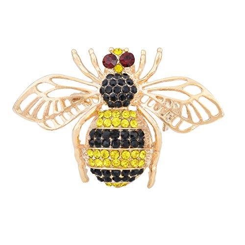 Fenni Vintage Inspired Honey Bee Bumblebee Crystal Rhinestone Insect Series Brooch Pin Pendant for Women (Gold)