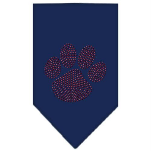 Mirage Pet Products Paw Red Rhinestone Bandana, Small, Navy Blue