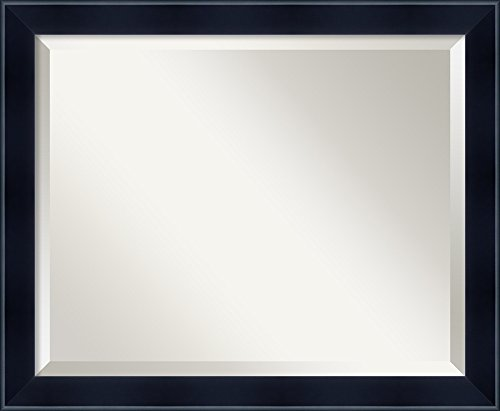 Amanti Art Framed Madison Black Solid Wood Wall Mirrors, Glass Size -