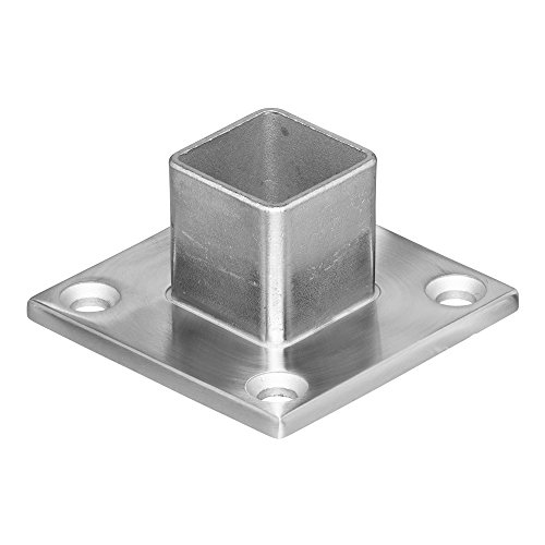 Steel Pipe Railing (Stainless Steel Square Shape Base Long Neck Floor Wall Flange Component, Mount Terminal End Post Holder and Top Hand Rail, for Cable Railing Deck (For Terminal Square Posts))