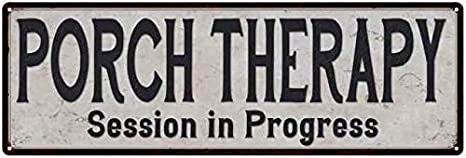 Porch Therapy Vintage Look Reproduction Black White Metal Sign 106180023039