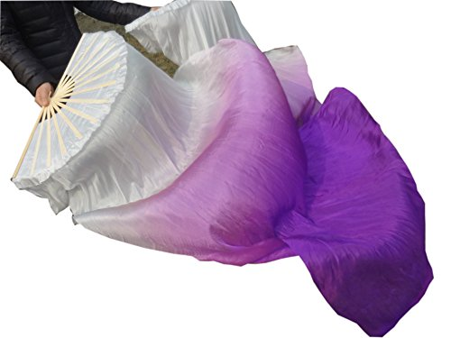 Winged Sirenny 1 Pair (1R+1L) 1.5mx0.9m Light& Sturdy Belly Dance Real Silk Fan Veil, White Starts (Dance Worship Costumes)